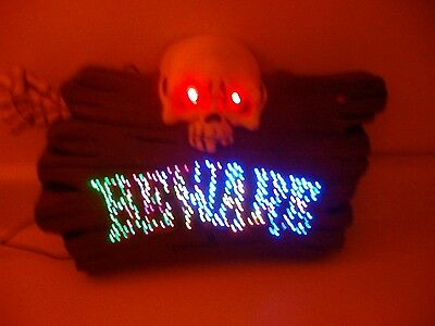 Halloween prop GEMMY BEWARE SIGN. COOL LIGHTS and SCARY SOUNDS.