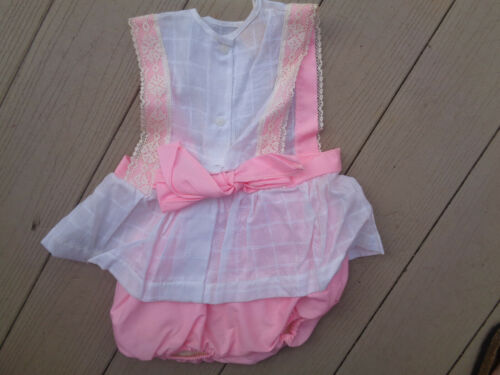 Vintage Pink Cream Lace Top Baby Girls Toddler Top Bloomers Short Set 2T