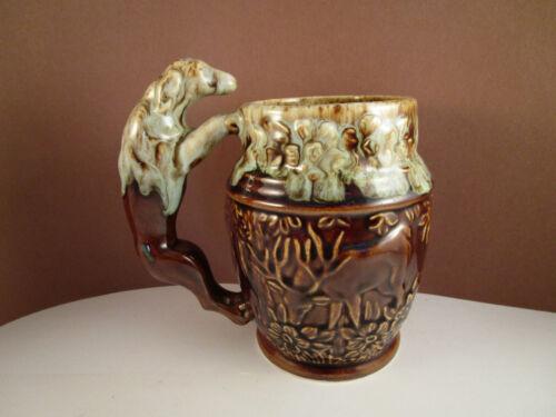 Vintage Rockingham Harker Brown Pottery Hunting Dog Ceramic Mug Stein