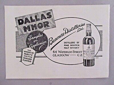 Dallas Mhor Scotch Whisky PRINT AD - 1936 ~~ whiskey, Benmore (Scotch Whisky Distilleries)
