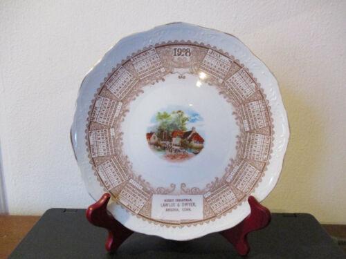1908 Souvenir Advertising Calendar Plate Ansonia Connecticut Merry Christmas