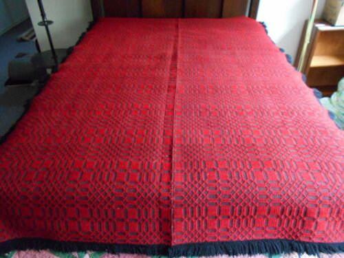 "Antique Handwoven coverlet - 72"" by 53"" - red and grey with black yarn fringe"