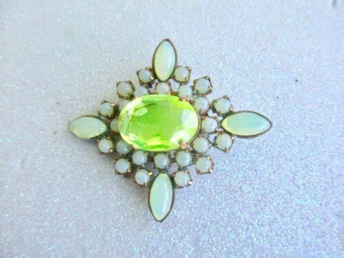 XL Outstanding Czech Vintage Glass Rhinestone Button     Vaseline Uranium