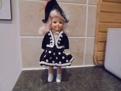 Vintage Hard Plastic Doll 1950's or 1960s era Pearly Queen Sleepy Eyes London