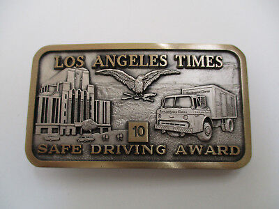 1970 Los Angeles Times 10 Yr Employee Safe Driving Award Newsy Belt Buckle