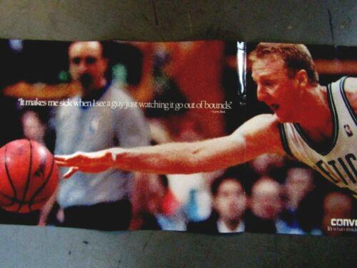 "1991 Larry Bird & Bernard King Original Converse Foldout Print Ad 8.5 x 11 """