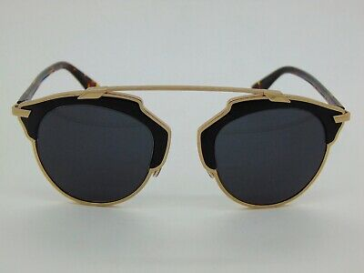 $865 Christian Dior So Real/L Leather Embossed P7PY1 Black/Gold 48mm (Christian Dior Black And Gold Sunglasses)