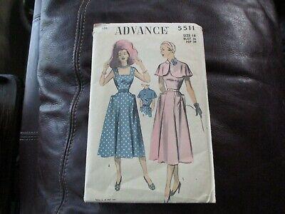 Advance 5511 Pattern - Vintage circa 1950's - Size 18 Bust 36 Hip 39