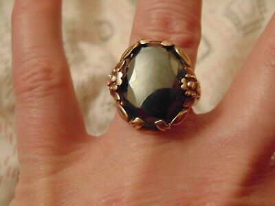 Large Vintage Solid 10ct Gold Onyx Ring 8.1g Size N GIFT BOX Hallmarked