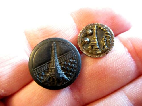 TWO Antique EIFFEL TOWER Composition STEEL & Brass Clothing BUTTONS - SMALL!