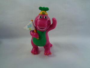 Vintage 1993 Barney Purple Dinosaur Mini PVC Figure Cake Topper w/ Go Flag