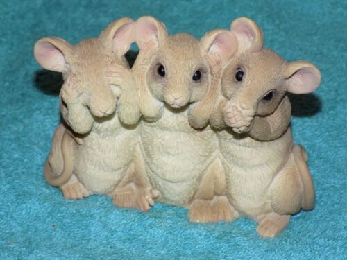 Stone Critters 3  Mice Polyresin Figures Hear  See  Speak No Evil 2005