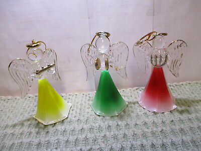 3 Colored Glass Angel Christmas Ornaments 3 1/2