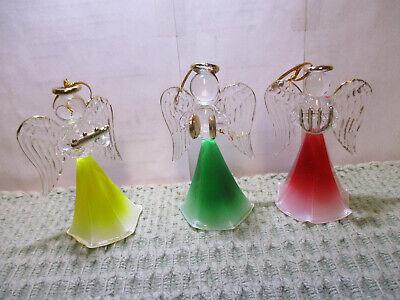 Christmas Angel Ornaments (3 Colored Glass Angel Christmas Ornaments 3 1/2