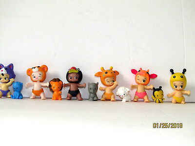 """Lot o 11Twozies baby and animals figures moose """"T"""" kitty bear cow geraffe bird"""