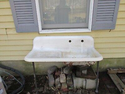 Antique Kitchen Farm Sink w/drainboard.  Circa 1930.