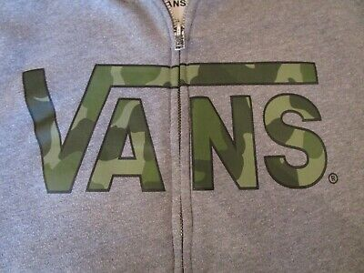 GENUINE BOYS VANS GREY HOODIE WITH CAMO LOGO SIZE S AGE 8 9 10 YRS VANS ZIP UP T