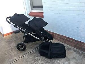 EXCELLENT Condition Baby Jogger City Select Double Pram + Bassinet Grange Charles Sturt Area Preview