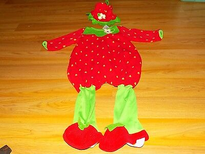Infant Size 12 Months Baby Grand Strawberry Halloween Costume Jumpsuit & Hat EUC - Strawberry Halloween Costume