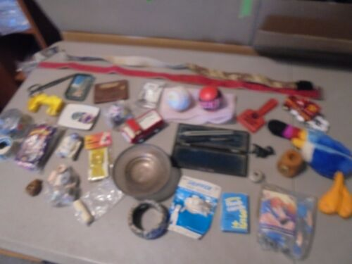 LOT OF MIXED JUNK DRAWER ITEMS,PAPER WEIGHT,DODGER BASEBALL,JACK,DELTA,TOYS,STAR