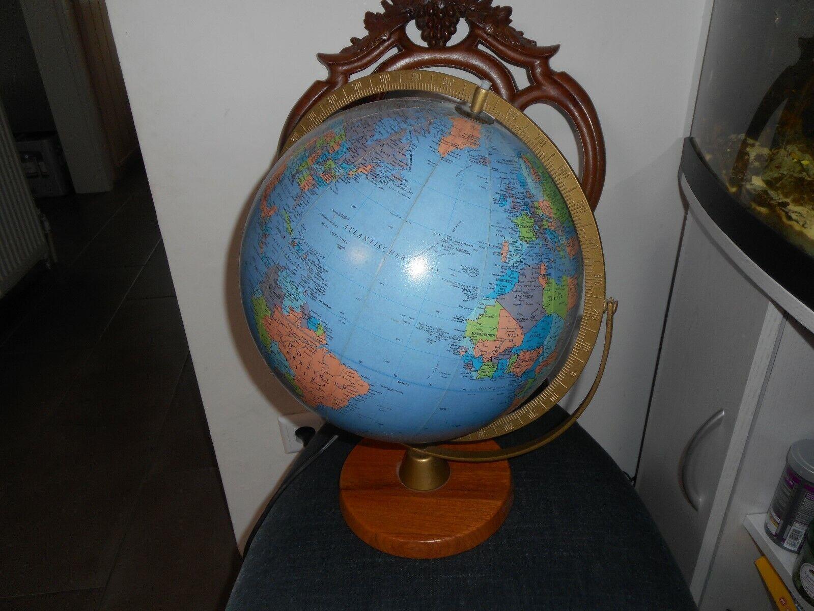 Sehr schöner alter Globus !! Weltkugel !! Holzgestell !! mit licht