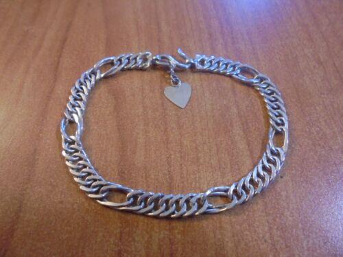 "Vtg Sterling silver unique chain link bracelet 6.75"" 7.1 grams"