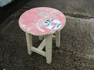 SMALL VINTAGE  PAINTED  ROUND TOP STOOL  or  SIDE  TABLE. FREE  DELIVERY.