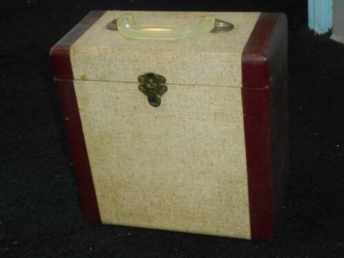 """VINTAGE RARE 2-TONE COLOR 78 RPM 10"""" Record Carrying Case YANKEE CLIPPER INDEX"""