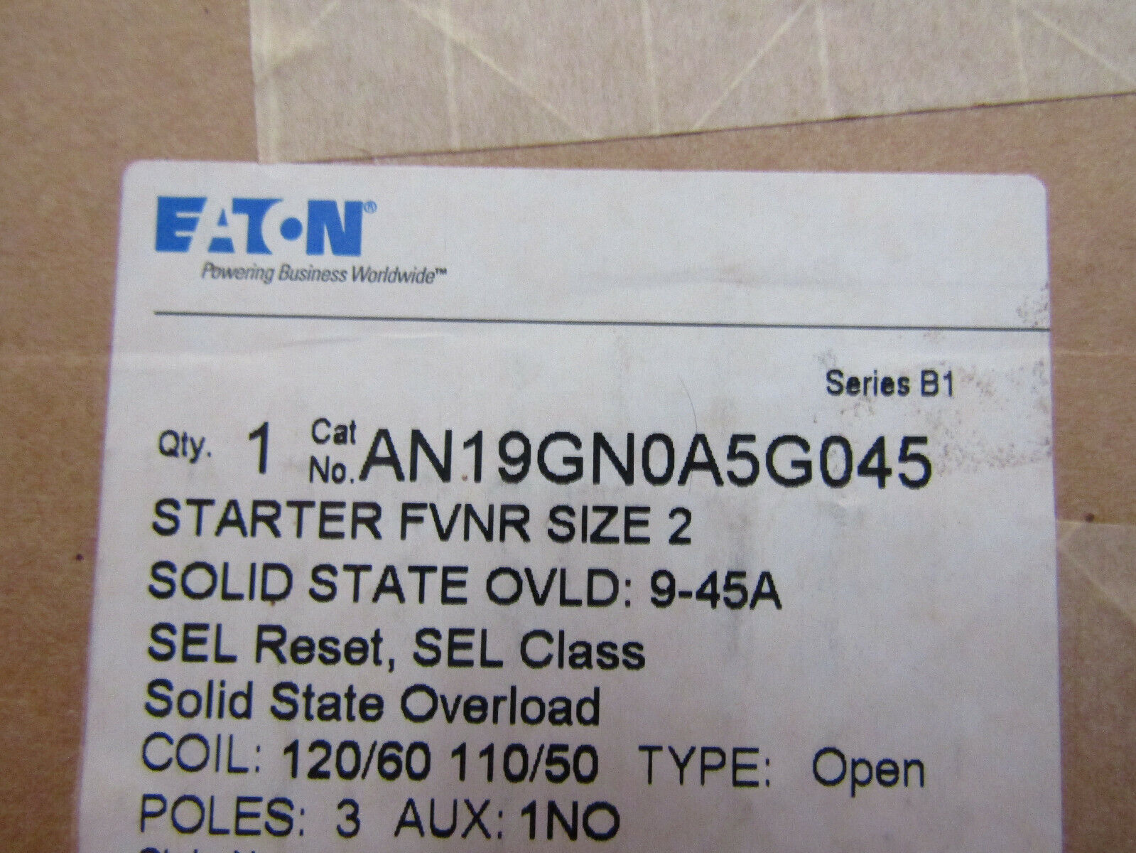 Eaton AN19GN0A5E045 SZ-2 FVNR Starter 240VAC Starter 3-Pole Coil 120/60 110/50 - $425.00