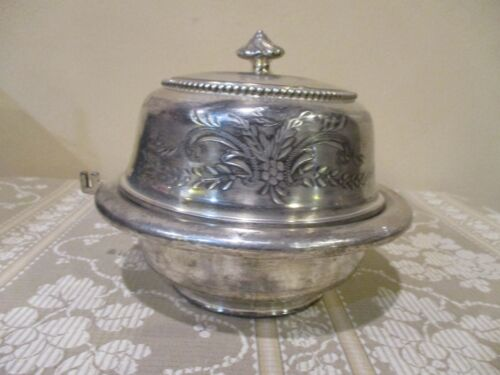 Antique Meriden Silver Plate Etched Butter Dish w/Dome Lid  #4932