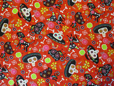 DOGS SKELETONS SKULLS SOMBRERO HATS DOG FLOWERS ORANGE COTTON FABRIC FQ (Sombrero Stoff)