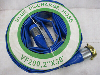 2 Pvc Discharge Hose 50 Foot Threaded Fittings 2 X 50 Blue Trash Pump Dewater