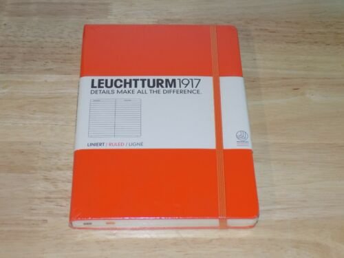 Leuchtturm1917 Medium Size Hardcover A5 Notebook, Ruled Pages, Orange