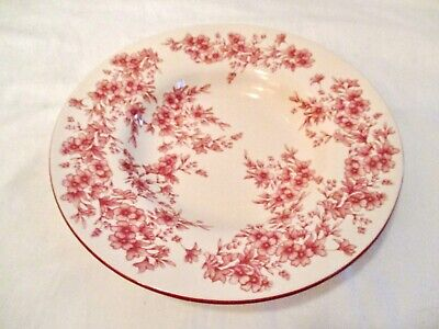 Flower Soup Bowl - RED TRANSFERWARE RIMMED SOUP BOWL RED WITH TRIM SMALL FLOWER FLORAL