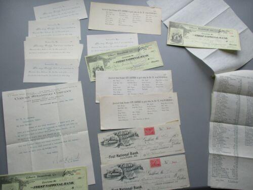 1880-1913 (20) Katahdin,Comet,Coburn Steamboats,signed Document,checks,Maine lot