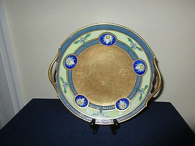 Antique Pickard Porcelain Hand Painted Gold & Floral Dessert Cake Plate Platter