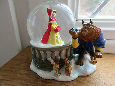 Disney Store Beauty And The Beast Snow Globe Original Movie Excellent Condition