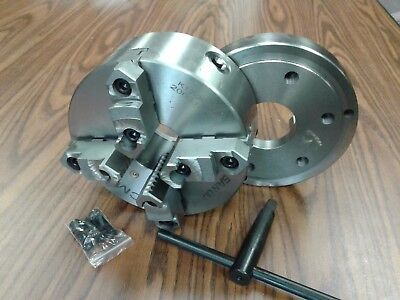 8 4-jaw Self-centering Lathe Chuck Topbottom Jaws W. D1-6 Adapter Plate-new