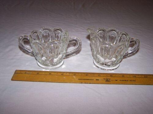 U.S. Glass L.E. Smith  - MOON AND STAR Cream & Sugar CLEAR