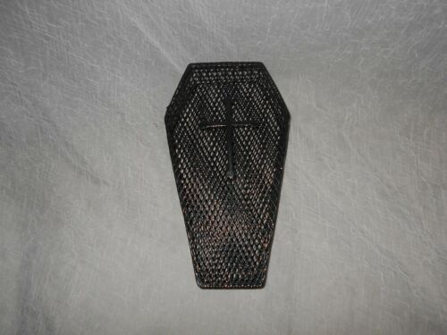 """RARE HALLOWEEN PLASTIC COATED WIRE FILLABLE 2 PIECE COFFIN-12"""" X 7""""-MANY USES!"""