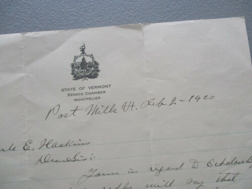 1920 C.A.Adams,(Senate Chambers,Montpelier,Vermont) signed letter