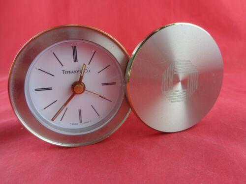 Tiffany & Co. Desk Alarm Clock Swiss Round Swivel Slide Top