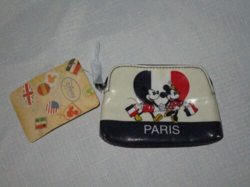 Disney Store Mickey Mouse Minnie Mouse Paris Red White Blue Change Purse ~NEW~