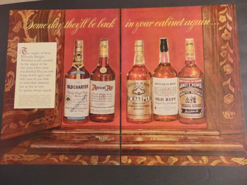 1946 Whiskies Will Be Back Ancient Age Old Charter Harper Old Ripy art print ad