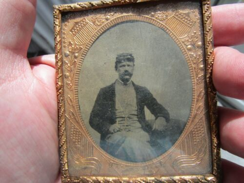 CIVIL WAR SOLDIER DIED IN THE FIELD ,Patriotic Copper Frame , Flags
