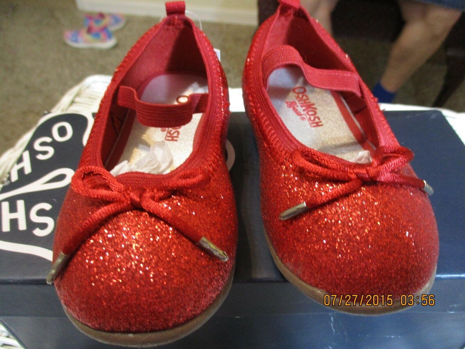 NWT OSHKOSH B GOSH SIZE 5 LITTLE GIRLS SHOES-RED SPARKLY- - $20.00
