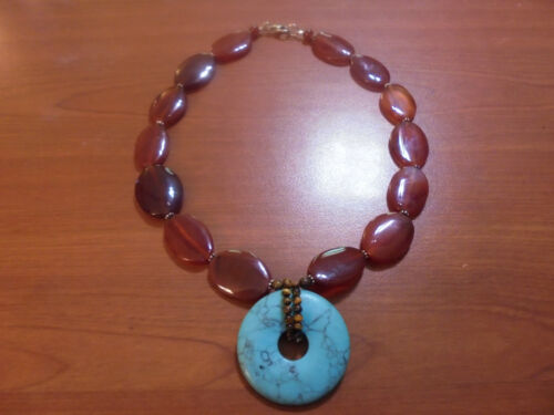 """Vtg Sterling silver turquoise agate tiger eye necklace 16.75"""" 64.1 grams"""