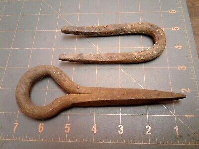 Primitive Antique Eye Bolt and Staple Blacksmith Hand Forged Heavy Duty