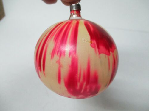 Old Glass Christmas Ornament - End Of The Day Painted Ball - 2 1/2""