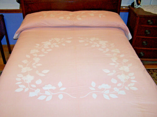 PAIR OF VINTAGE MADEIRA APPLIQUE BED COVERS, BEDSPREADS, PEACH, ROSE FLORAL 1930